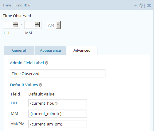 Screenshot of Gravity Forms Time field merge tags